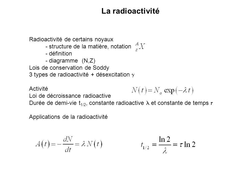 La radioactivité Radioactivité de certains noyaux - structure de la matière, notation - définition - diagramme (N,Z) Lois de conservation de Soddy 3 t