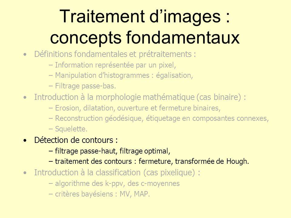 Traitement dimages : concepts fondamentaux Définitions fondamentales et prétraitements : – Information représentée par un pixel, – Manipulation dhisto