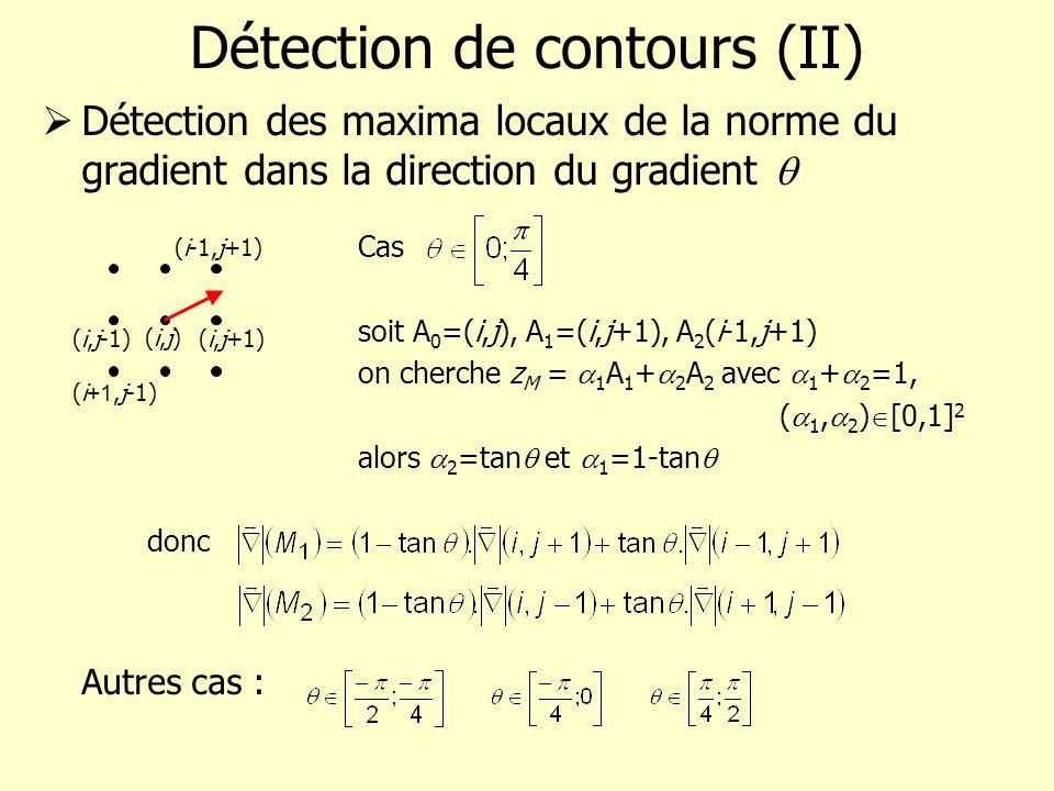 Détection de contours (II) Détection des maxima locaux de la norme du gradient dans la direction du gradient Cas soit A 0 =(i,j), A 1 =(i,j+1), A 2 (i