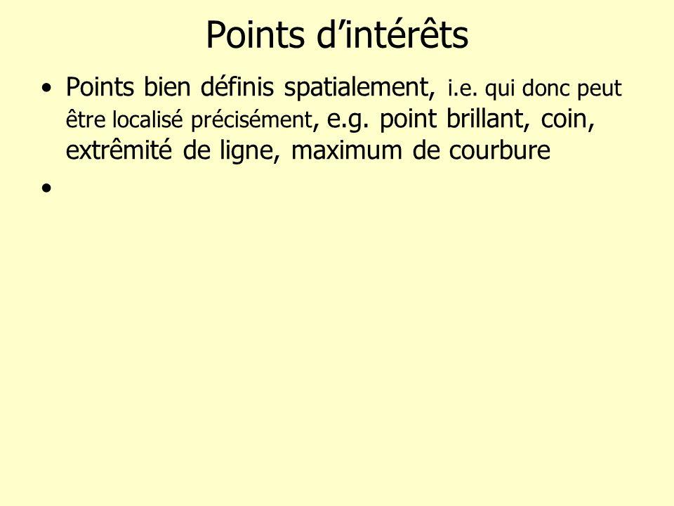Points dintérêts Points bien définis spatialement, i.e. qui donc peut être localisé précisément, e.g. point brillant, coin, extrêmité de ligne, maximu