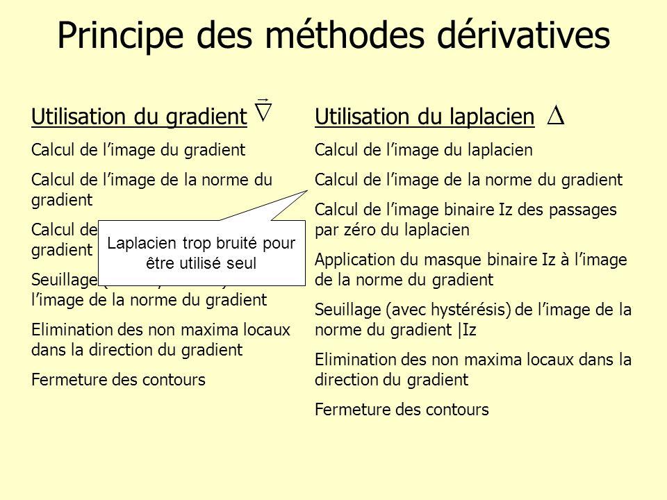 Principe des méthodes dérivatives Utilisation du gradient Calcul de limage du gradient Calcul de limage de la norme du gradient Calcul de limage de la