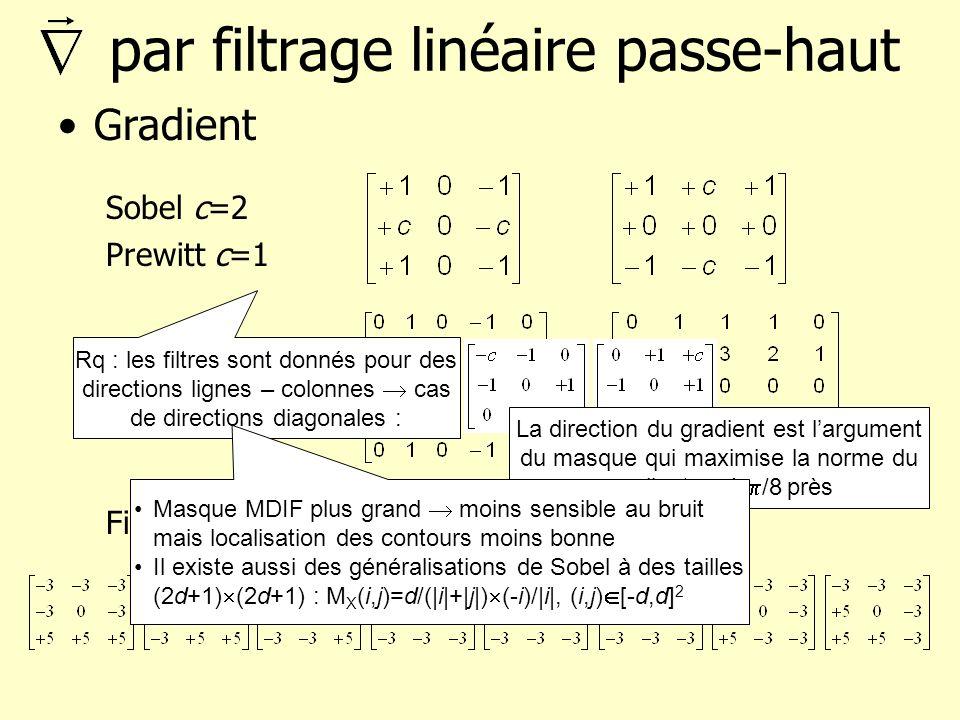 par filtrage linéaire passe-haut Gradient Sobel c=2 Prewitt c=1 Opérateur MDIF Filtres de Kirsch : 8 masques Rq : les filtres sont donnés pour des dir