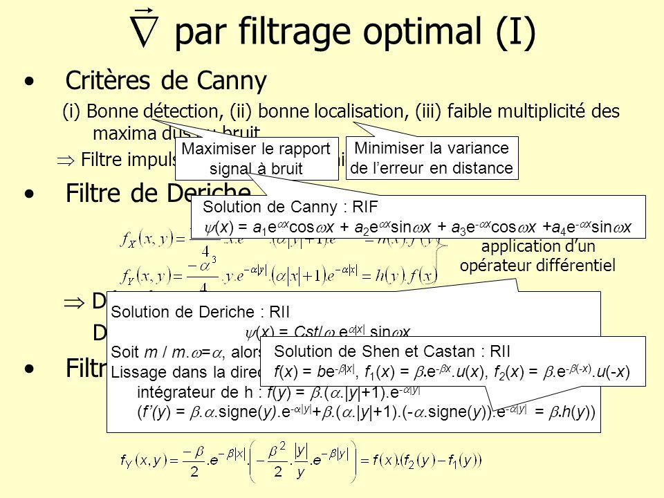 par filtrage optimal (II) Implantation du filtre de dérivation de Deriche Décomposition entre 1 partie causale et 1 anti-causale R 1 [i]=c.e -.I[i-1]+2.e -.R[i-1]-e -2.R[i-2] R 2 [i]=-c.e -.I[i+1]+2.e -.R[i+1]-e -2.R[i+2] R[i]=R 1 [i]+ R 2 [i] Implantation du filtre de lissage de Deriche Décomposition entre 1 partie causale et 1 anti-causale R 1 [i]= b.I[i]+ b.e -.( -1).I[i-1]+2.e -.R[i-1]-e -2.R[i-2] R 2 [i]= b.e -.( +1).I[i+1]-b.e -2.I[i+2]+2.e -.R[i+1]-e -2.R[i+2] R[i]=R 1 [i]+ R 2 [i] Partie causale : h - (i)=c.i.e -i.u(i) TZ[u(i)] = 1/(1-z -1 )|z|>1 TZ[a i.x(i)] = X(z/a) TZ[e -i u(i)] = 1/(1-e - z -1 ) TZ[i k.x(i)] = (z.d/dz)X(z) TZ[ie -i u(i)] = e - z -1 /(1-e - z -1 ) 2 Partie anti-causale : h + (i)=(-c).(-i).e (-i)(- ).u(-i) Partie causale : f - (i)=b.( i+1).e -i.u(i) TZ[f - (i)] = b..e - z -1 /(1-e - z -1 ) 2 + b/(1-e - z -1 ) Partie anti-causale : f + (i)=[b.(-i).e (-i)(- ) + b.e (-i)(- ) -b (-i)].u(-i) TZ[f-(i)] = b..e - z/(1-e - z) 2 + b/(1-e - z)-b