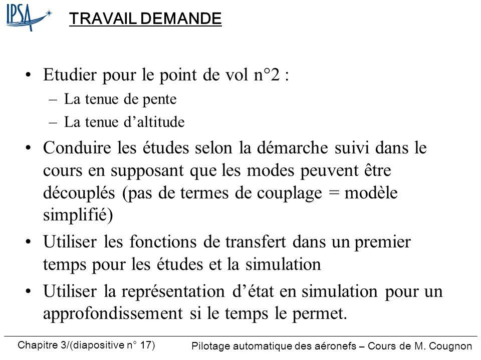 Chapitre 3/(diapositive n° 17) Pilotage automatique des aéronefs – Cours de M. Cougnon TRAVAIL DEMANDE Etudier pour le point de vol n°2 : –La tenue de