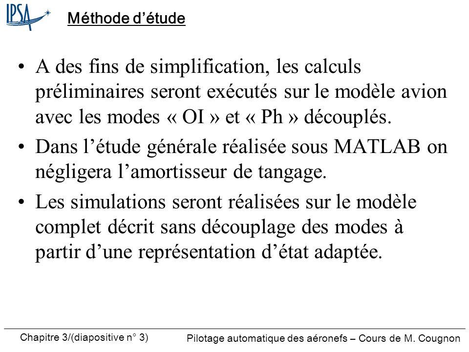 Chapitre 3/(diapositive n° 4) Pilotage automatique des aéronefs – Cours de M.