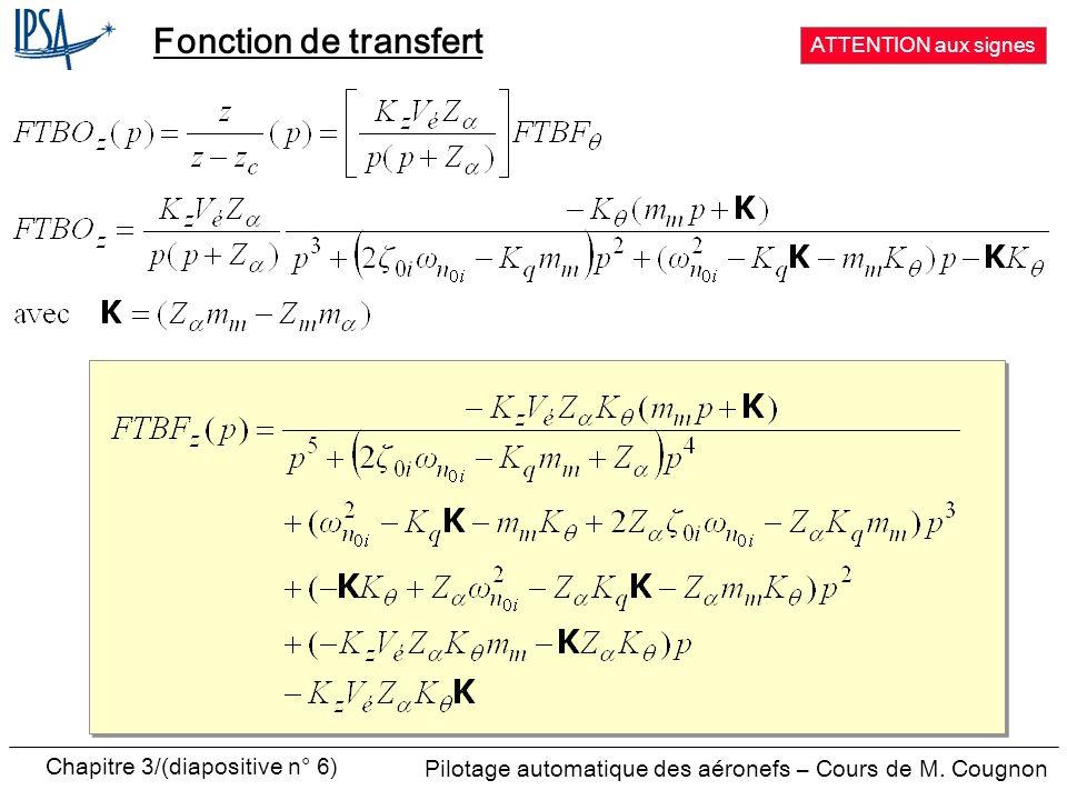 Chapitre 3/(diapositive n° 7) Pilotage automatique des aéronefs – Cours de M.