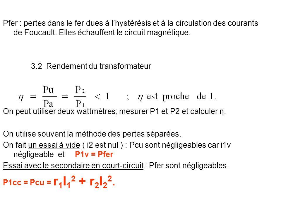 Pfer : pertes dans le fer dues à lhystérésis et à la circulation des courants de Foucault. Elles échauffent le circuit magnétique. 3.2 Rendement du tr