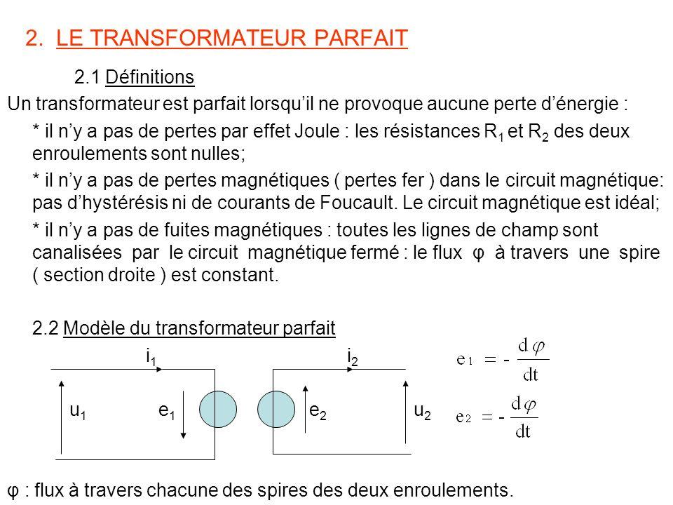 2. LE TRANSFORMATEUR PARFAIT 2.1 Définitions Un transformateur est parfait lorsquil ne provoque aucune perte dénergie : * il ny a pas de pertes par ef