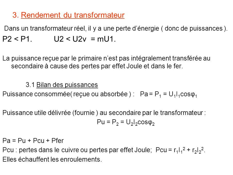 3. Rendement du transformateur Dans un transformateur réel, il y a une perte dénergie ( donc de puissances ). P2 < P1. U2 < U2v = mU1. La puissance re