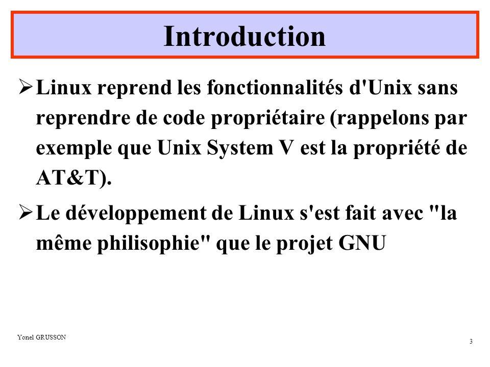 Yonel GRUSSON 14 Le Système de fichiers Vision Windows Partition 1 sous le nom de C:\ Partition 2 sous le nom de D:\ Cd-Rom sous le nom de E:\ Vision Linux Arborescence du Cd- Rom Arborescence de la partition 2 Arborescence de la partition 1 /