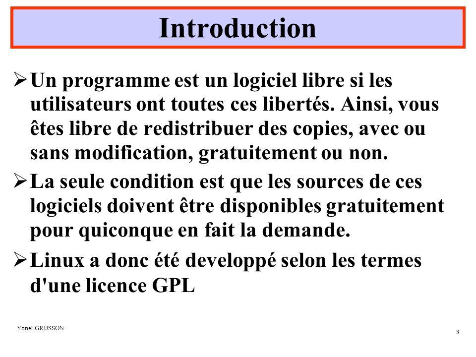 Yonel GRUSSON 19 Le Système de fichiers /binContient les fichiers exécutables essentiels au système /bootContient le noyau et les fichiers nécessaires au gestionnaire de démarrage /devContient les fichiers périphériques du système (dev = device) /etcContient les fichiers de configuration du système et certains scripts /homeContient tous les répertoires personnels des utilisateurs /libContient les librairies du système et les modules du noyau /lost+foundContient le stockage des fichiers retrouvés par fsck /mntRépertoire disponible et proposé pour le montage de futur système de fichiers /rootContient le répertoire de base de l administrateur /sbinContient les fichiers exécutables pour ladministration du système donc surtout utilisé par root.