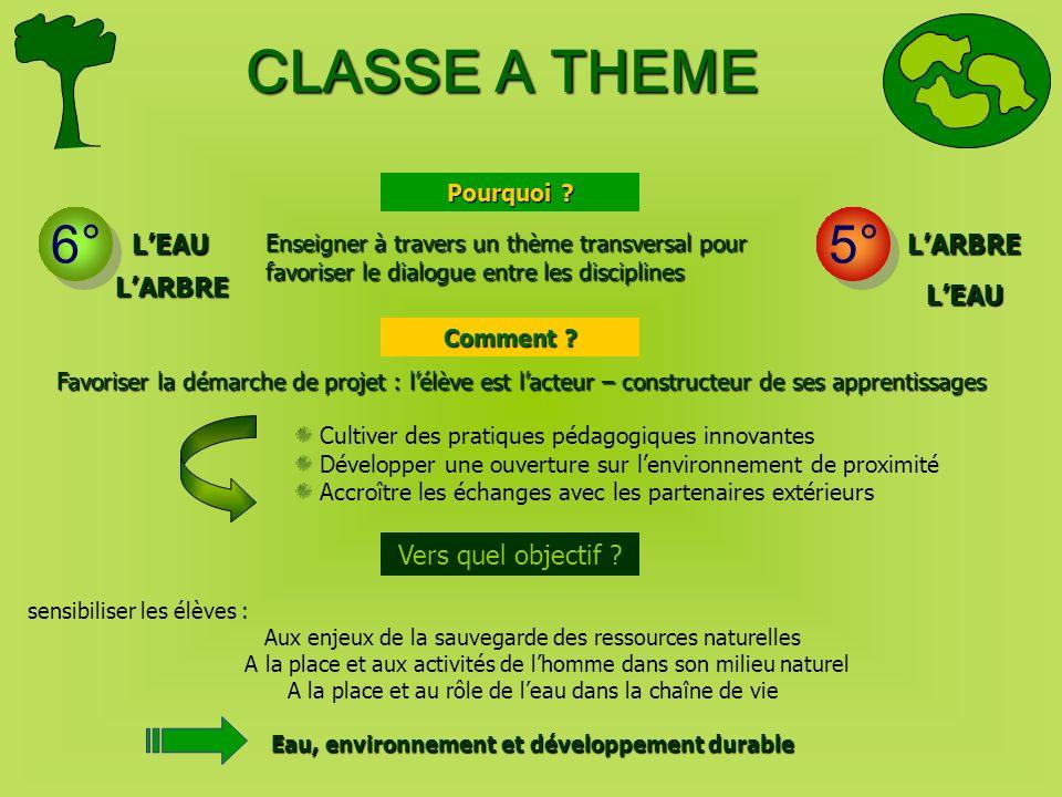 CLASSE A THEME 6° 5° LEAULARBRE sensibiliser les élèves : Aux enjeux de la sauvegarde des ressources naturelles A la place et aux activités de lhomme
