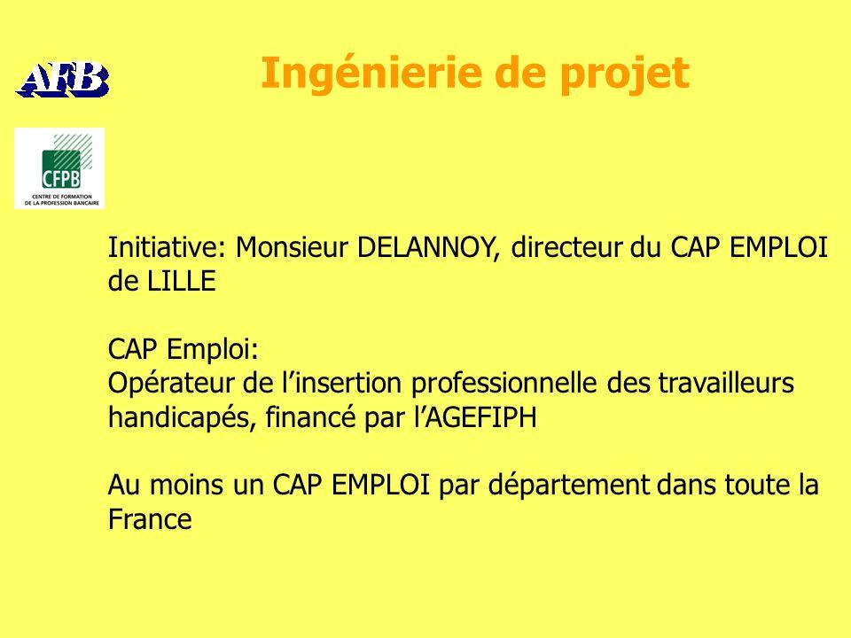 Ingénierie de projet Initiative: Monsieur DELANNOY, directeur du CAP EMPLOI de LILLE CAP Emploi: Opérateur de linsertion professionnelle des travailleurs handicapés, financé par lAGEFIPH Au moins un CAP EMPLOI par département dans toute la France