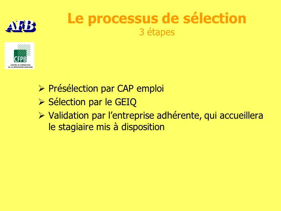 Le processus de sélection 3 étapes Présélection par CAP emploi Sélection par le GEIQ Validation par lentreprise adhérente, qui accueillera le stagiaire mis à disposition
