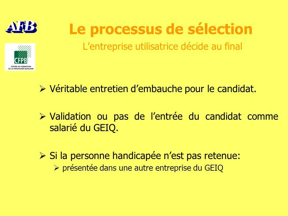 Le processus de sélection Lentreprise utilisatrice décide au final Véritable entretien dembauche pour le candidat.