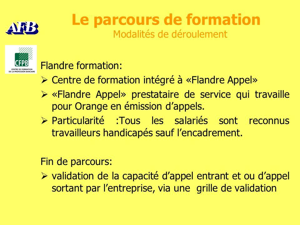 Le parcours de formation Modalités de déroulement Flandre formation: Centre de formation intégré à «Flandre Appel» «Flandre Appel» prestataire de service qui travaille pour Orange en émission dappels.