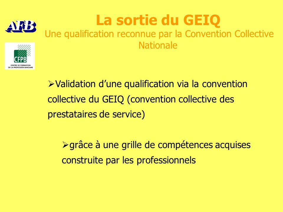 La sortie du GEIQ Une qualification reconnue par la Convention Collective Nationale Validation dune qualification via la convention collective du GEIQ (convention collective des prestataires de service) grâce à une grille de compétences acquises construite par les professionnels