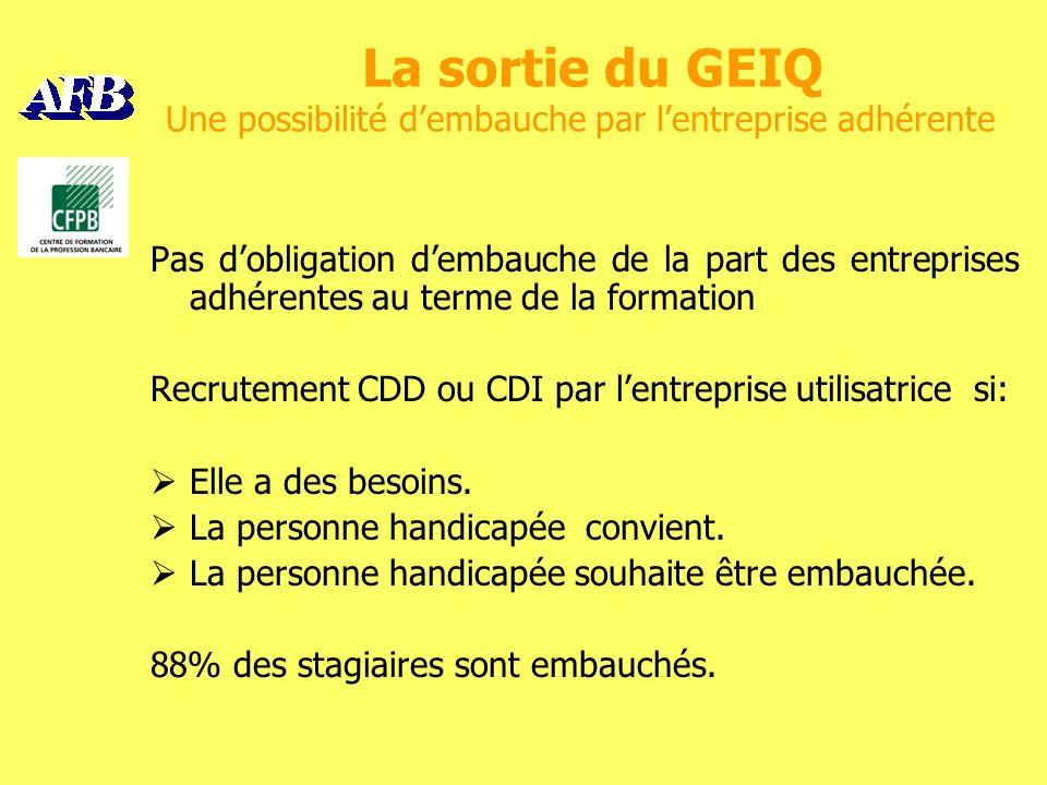 La sortie du GEIQ Une possibilité dembauche par lentreprise adhérente Pas dobligation dembauche de la part des entreprises adhérentes au terme de la formation Recrutement CDD ou CDI par lentreprise utilisatrice si: Elle a des besoins.