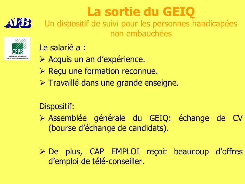 La sortie du GEIQ Un dispositif de suivi pour les personnes handicapées non embauchées Le salarié a : Acquis un an dexpérience.