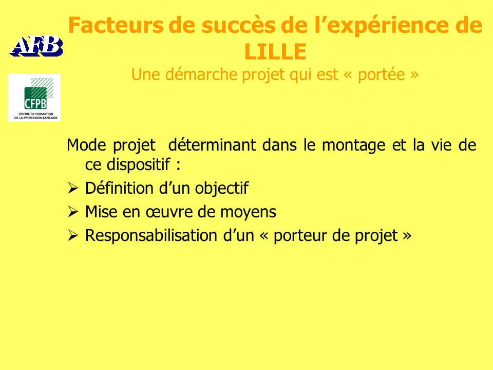 Facteurs de succès de lexpérience de LILLE Une démarche projet qui est « portée » Mode projet déterminant dans le montage et la vie de ce dispositif : Définition dun objectif Mise en œuvre de moyens Responsabilisation dun « porteur de projet »