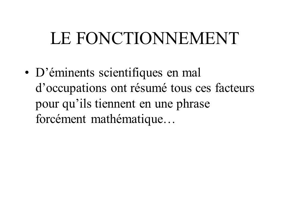 LE FONCTIONNEMENT Déminents scientifiques en mal doccupations ont résumé tous ces facteurs pour quils tiennent en une phrase forcément mathématique…