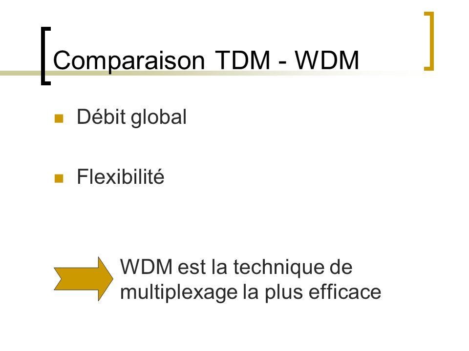 Comparaison TDM - WDM Débit global Flexibilité WDM est la technique de multiplexage la plus efficace