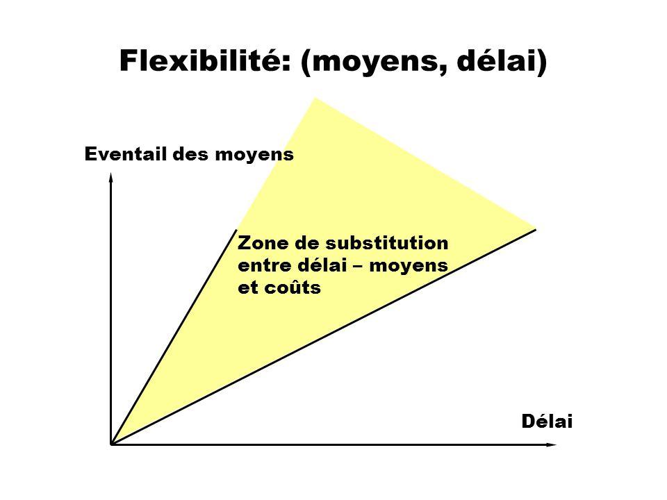 Flexibilité: (moyens, délai) Eventail des moyens Délai Zone de substitution entre délai – moyens et coûts
