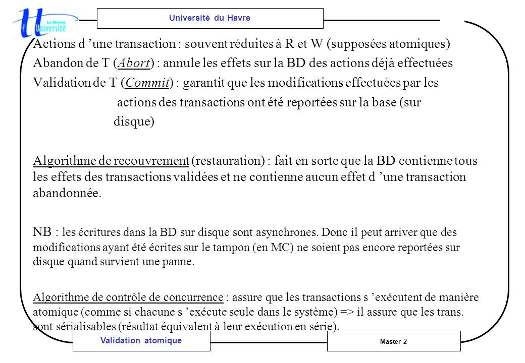Université du Havre Master 2 Validation atomique Actions d une transaction : souvent réduites à R et W (supposées atomiques) Abandon de T (Abort) : annule les effets sur la BD des actions déjà effectuées Validation de T (Commit) : garantit que les modifications effectuées par les actions des transactions ont été reportées sur la base (sur disque) Algorithme de recouvrement (restauration) : fait en sorte que la BD contienne tous les effets des transactions validées et ne contienne aucun effet d une transaction abandonnée.