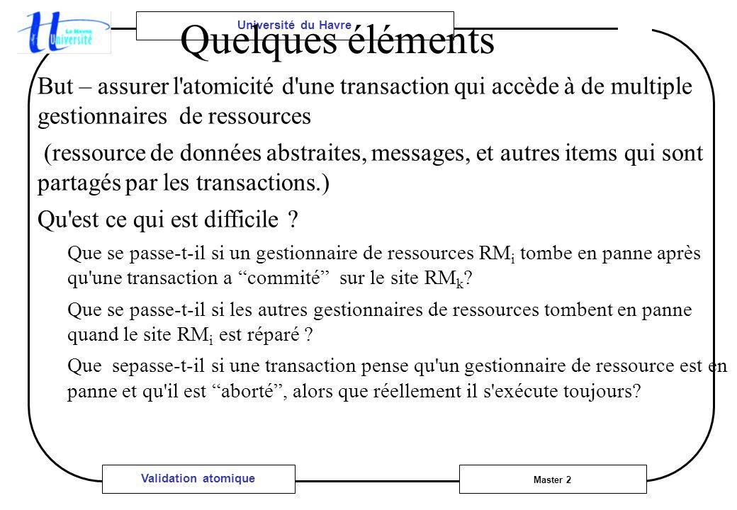 Université du Havre Master 2 Validation atomique Quelques éléments But – assurer l'atomicité d'une transaction qui accède à de multiple gestionnaires