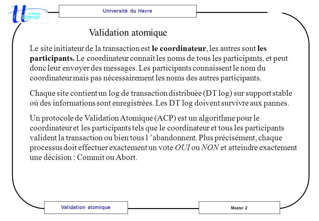 Université du Havre Master 2 Validation atomique Le site initiateur de la transaction est le coordinateur, les autres sont les participants. Le coordi