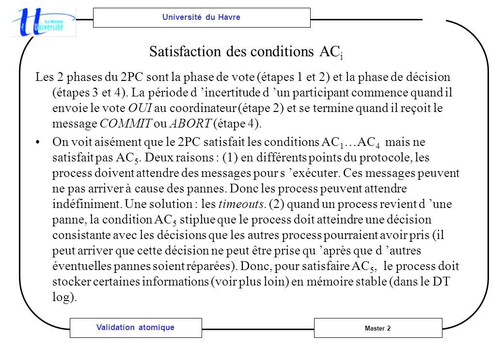 Université du Havre Master 2 Validation atomique Les 2 phases du 2PC sont la phase de vote (étapes 1 et 2) et la phase de décision (étapes 3 et 4). La