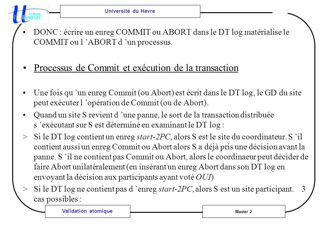 Université du Havre Master 2 Validation atomique DONC : écrire un enreg COMMIT ou ABORT dans le DT log matérialise le COMMIT ou l ABORT d un processus