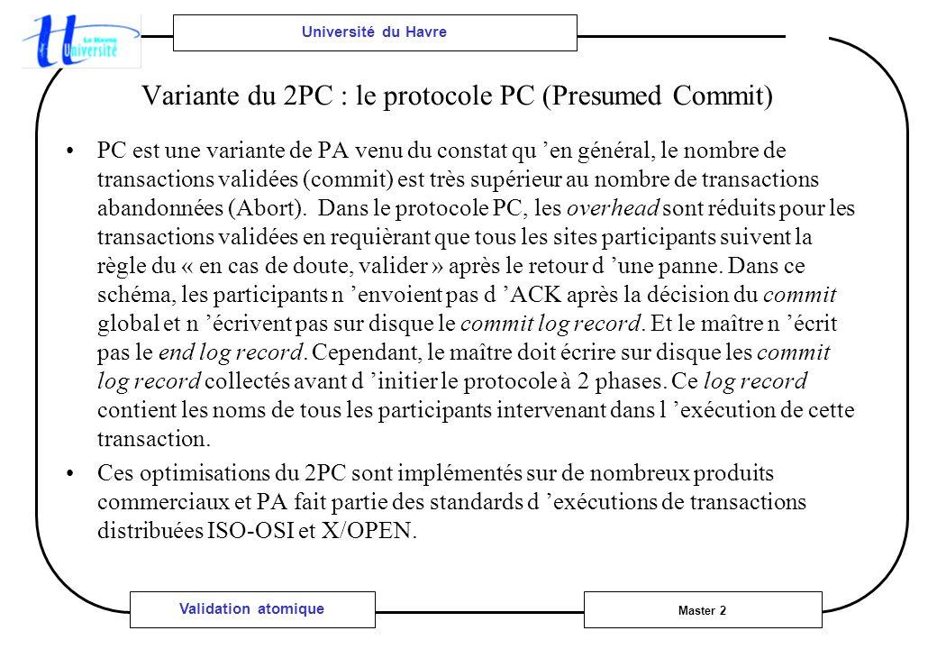 Université du Havre Master 2 Validation atomique Variante du 2PC : le protocole PC (Presumed Commit) PC est une variante de PA venu du constat qu en général, le nombre de transactions validées (commit) est très supérieur au nombre de transactions abandonnées (Abort).