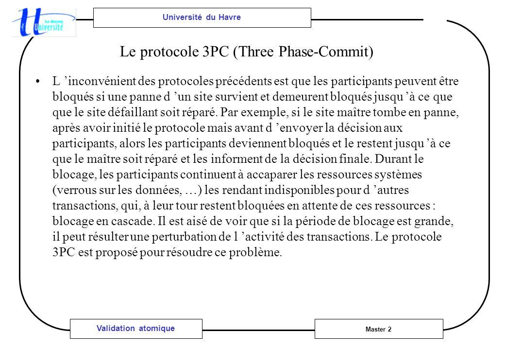 Université du Havre Master 2 Validation atomique Le protocole 3PC (Three Phase-Commit) L inconvénient des protocoles précédents est que les participants peuvent être bloqués si une panne d un site survient et demeurent bloqués jusqu à ce que que le site défaillant soit réparé.