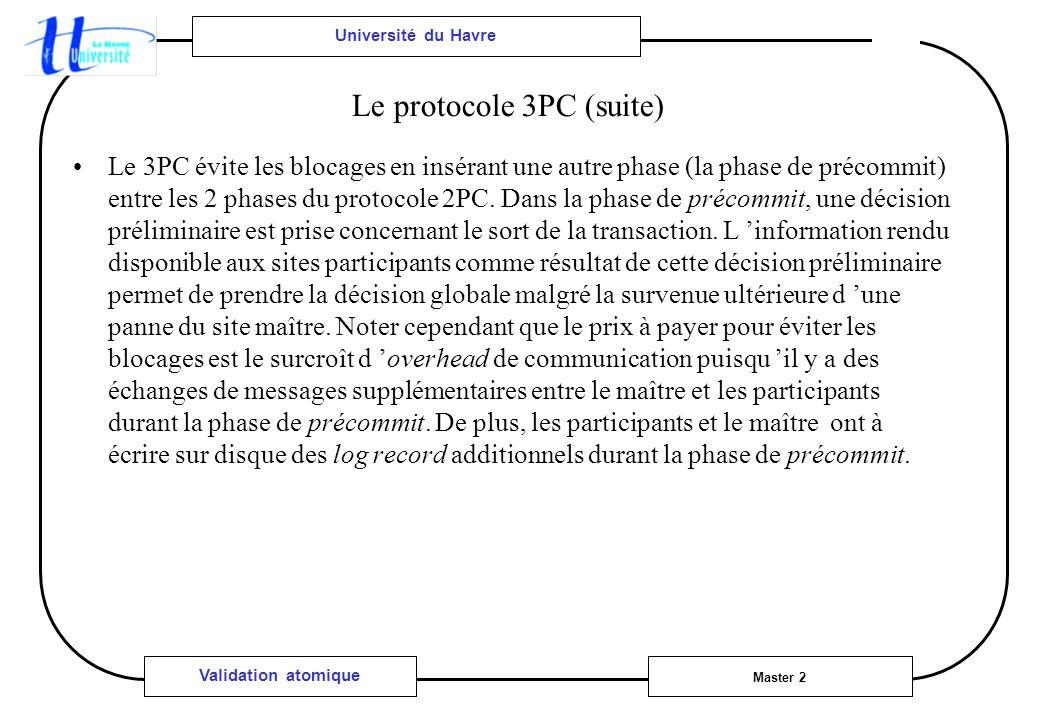 Université du Havre Master 2 Validation atomique Le protocole 3PC (suite) Le 3PC évite les blocages en insérant une autre phase (la phase de précommit) entre les 2 phases du protocole 2PC.