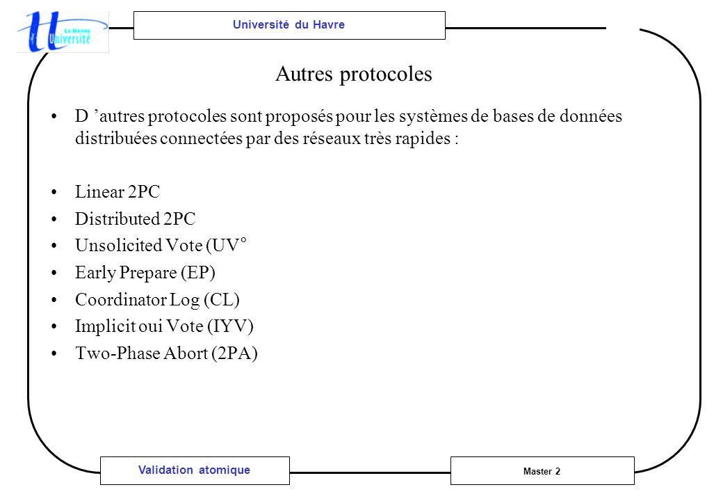Université du Havre Master 2 Validation atomique Autres protocoles D autres protocoles sont proposés pour les systèmes de bases de données distribuées connectées par des réseaux très rapides : Linear 2PC Distributed 2PC Unsolicited Vote (UV° Early Prepare (EP) Coordinator Log (CL) Implicit oui Vote (IYV) Two-Phase Abort (2PA)