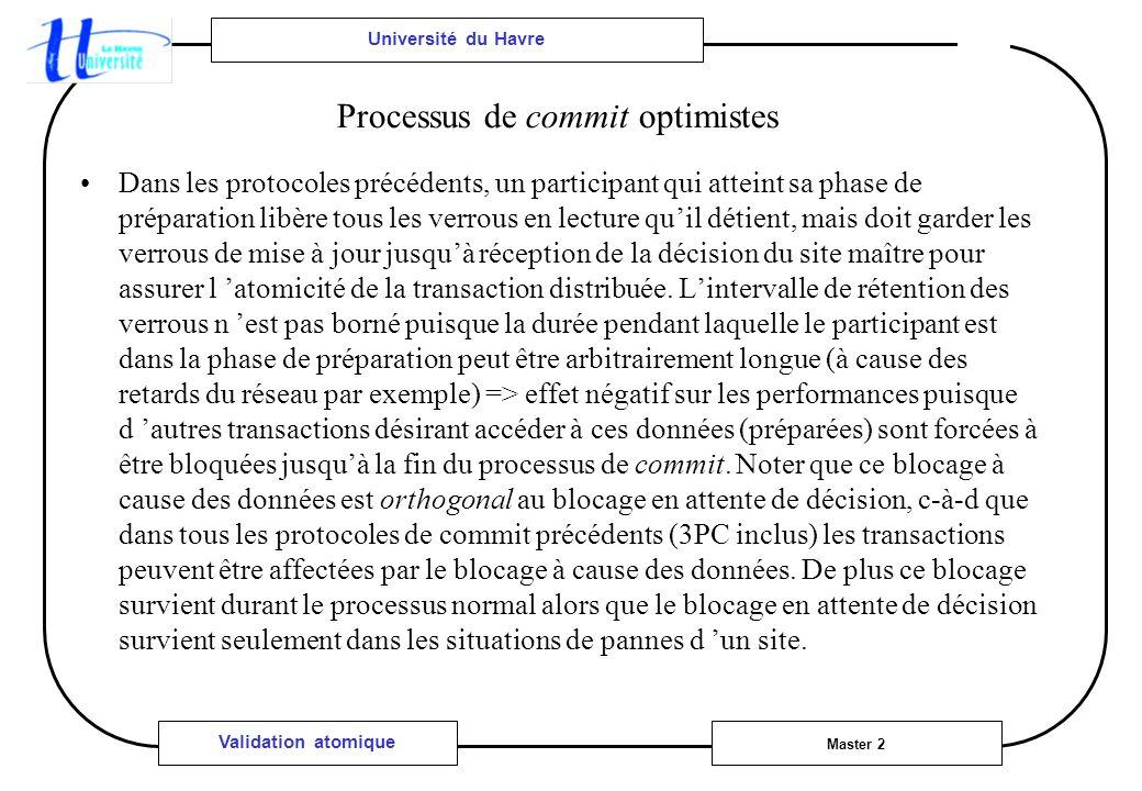 Université du Havre Master 2 Validation atomique Processus de commit optimistes Dans les protocoles précédents, un participant qui atteint sa phase de
