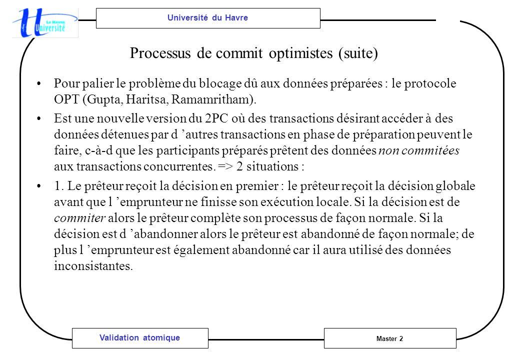 Université du Havre Master 2 Validation atomique Processus de commit optimistes (suite) Pour palier le problème du blocage dû aux données préparées : le protocole OPT (Gupta, Haritsa, Ramamritham).