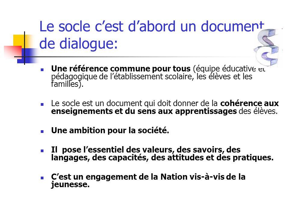 Le socle cest dabord un document de dialogue: Une référence commune pour tous (équipe éducative et pédagogique de létablissement scolaire, les élèves