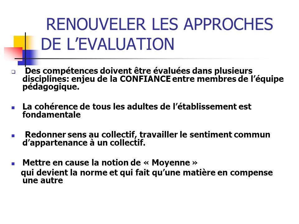 RENOUVELER LES APPROCHES DE LEVALUATION Des compétences doivent être évaluées dans plusieurs disciplines: enjeu de la CONFIANCE entre membres de léqui