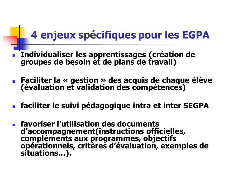 4 enjeux spécifiques pour les EGPA Individualiser les apprentissages (création de groupes de besoin et de plans de travail) Faciliter la « gestion » d