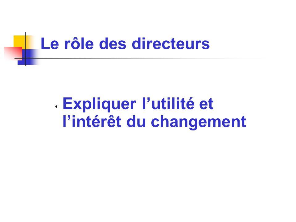Le rôle des directeurs Expliquer lutilité et lintérêt du changement