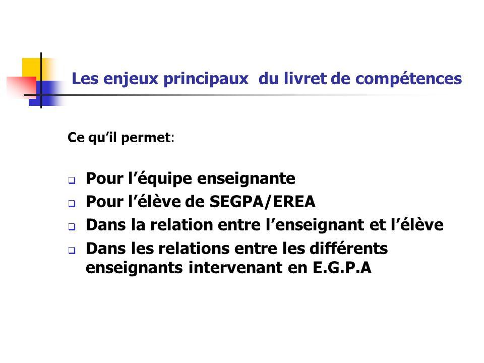 Les enjeux principaux du livret de compétences Ce quil permet: Pour léquipe enseignante Pour lélève de SEGPA/EREA Dans la relation entre lenseignant e