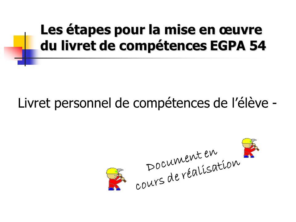Les étapes pour la mise en œuvre du livret de compétences EGPA 54 Livret personnel de compétences de lélève - D o c u m e n t e n c o u r s d e r é a