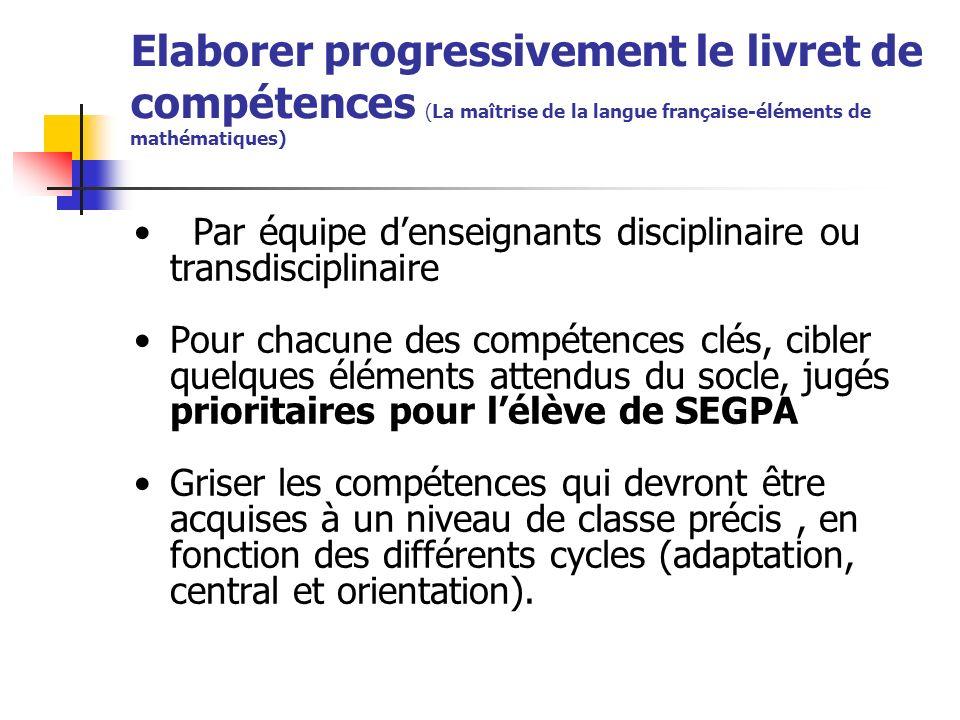 Elaborer progressivement le livret de compétences (La maîtrise de la langue française-éléments de mathématiques) Par équipe denseignants disciplinaire