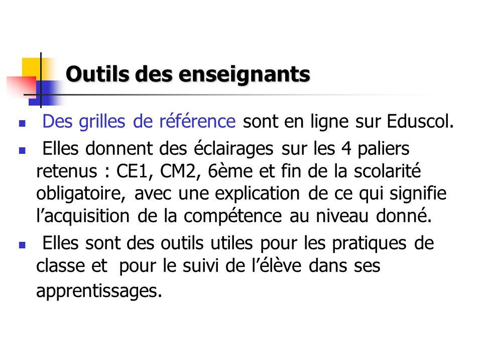 Outils des enseignants Des grilles de référence sont en ligne sur Eduscol. Elles donnent des éclairages sur les 4 paliers retenus : CE1, CM2, 6ème et