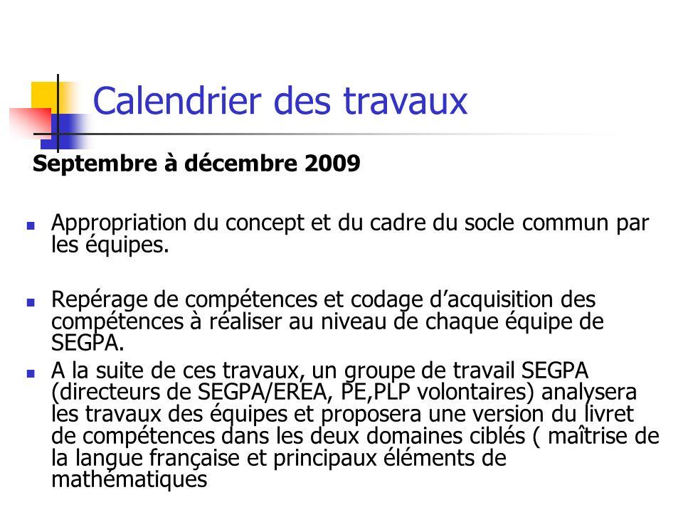 Calendrier des travaux Septembre à décembre 2009 Appropriation du concept et du cadre du socle commun par les équipes. Repérage de compétences et coda
