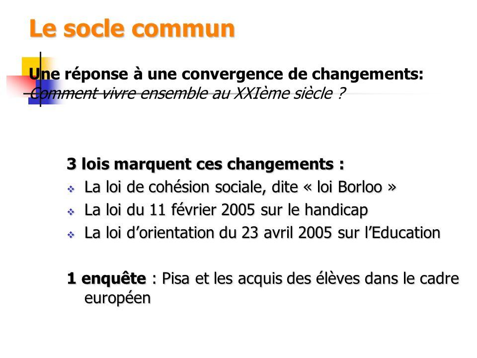 Le socle commun Le socle commun Une réponse à une convergence de changements: Comment vivre ensemble au XXIème siècle ? 3 lois marquent ces changement