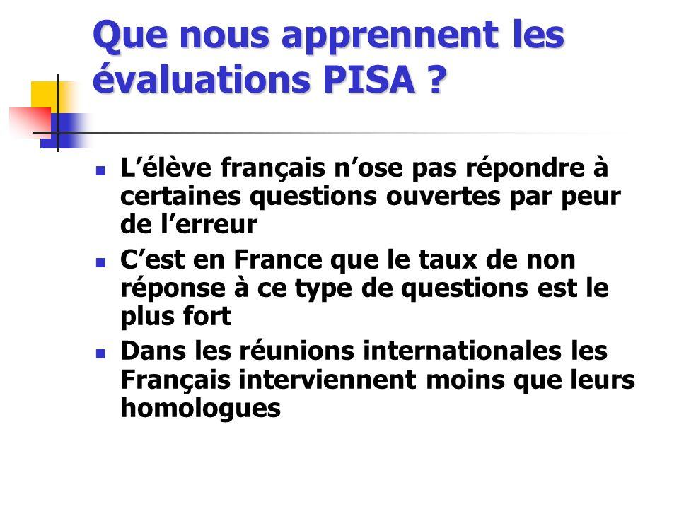 Que nous apprennent les évaluations PISA ? Lélève français nose pas répondre à certaines questions ouvertes par peur de lerreur Cest en France que le