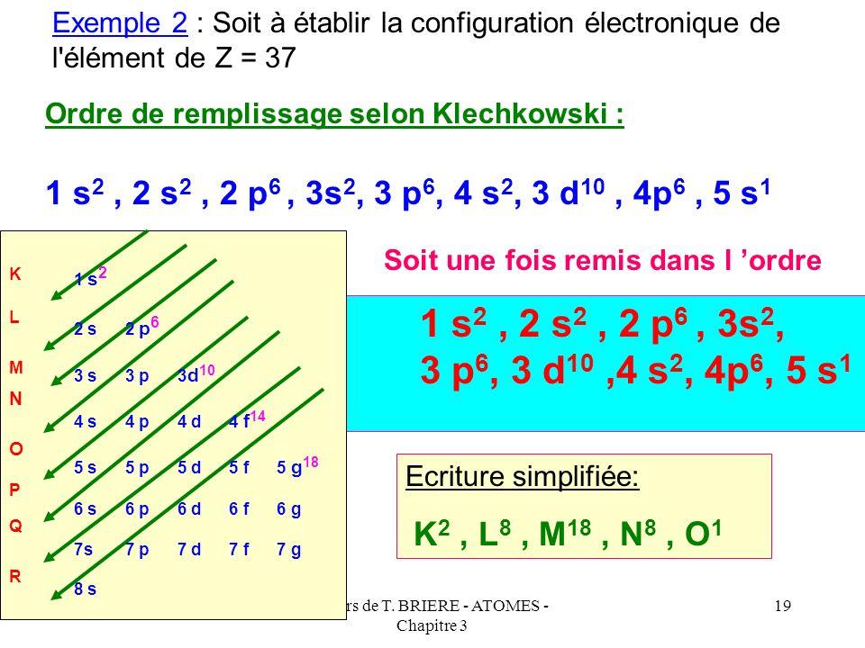 Cours de T. BRIERE - ATOMES - Chapitre 3 18 Etablissement de la configuration électronique d'un élément. Dans la très grande majorité des cas, il suff